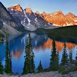 Moraine Lakle by Petr Podroužek - Landscapes Mountains & Hills ( water, adventure, reflection, sky, peak, lake, morning )