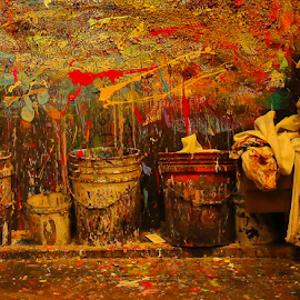 Paint Explosion by Nancy Merolle - Artistic Objects Still Life ( art studio, paint cans, splashes, artistic objects, paints, mess, paint splashes )