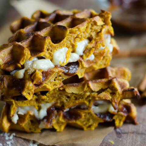 Pumpkin Waffle Sandwiches with Apple Butter and Melted Brie