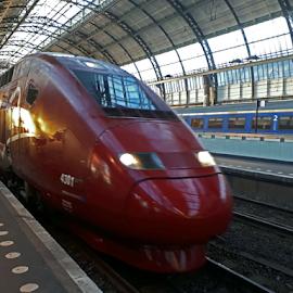 Speeding Thayls Train by Marc Loranger - Transportation Trains ( motion, high speed, station, europe, train,  )