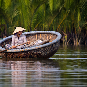 Vietnam Woman by Rebecca Ramaley - People Street & Candids ( hoi an, woman, coconut farm, morning, boat,  )