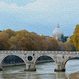 Vatican over Tiber by Jody Bédard - Painting All Painting ( city scene, italian, church, curches, vatican painting, vatican, tiber, city scape, rome, rome oil, rome painting, roman, italy, city skyline )