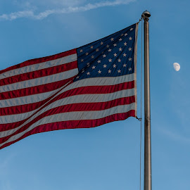 To the Moon and Back by Brianne Toma - Artistic Objects Other Objects ( moon, independence point, america, american flag, hoorah, northwest, idaho, coeur d'alene, flag, fourth of july, perspective, oorah, independence day,  )