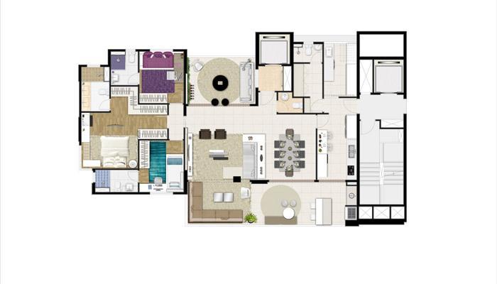 Planta Tipo - 171 m² - 3 Suítes