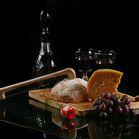 Bread, Wine and cheese by Cristobal Garciaferro Rubio - Food & Drink Ingredients ( wine, cups, grapes, cheese, bottle, knife )