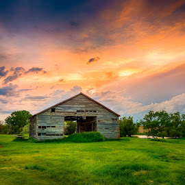 The Grainery by Kendra Perry Koski - Buildings & Architecture Decaying & Abandoned ( clouds, water, orange, may, thunderstorm, hdr, grass, green, grainery, 2016, ideal, winner, south dakota, landscape, spring, barnwood, barn, blue, sunset, pink, daktawindsphoto.com, dakota winds photography )