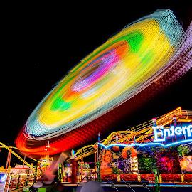 Enterprise !! by Ken Wagner - City,  Street & Park  Amusement Parks ( ken wagner, florida state fair, night rides, tampa, light trails, enterprise, long exp, nikon )