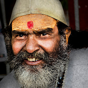 smirk! by Rajarshi Mitra - People Street & Candids ( face, priest, indian, beard, palmist, sadhu )