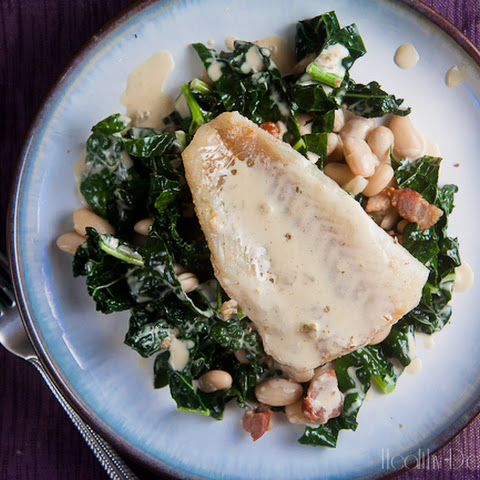 Seared Cod with Mustard Cream Sauce over White Beans and Kale