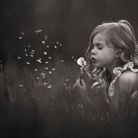 Wishes by Tiona Anglin Appel - Babies & Children Children Candids ( child, girl, black and white, candid, portrait )