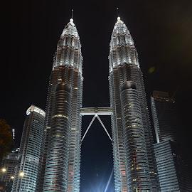 Petronas Night by Kresnata Adijaya - Buildings & Architecture Architectural Detail ( mayasia, petronas, night )