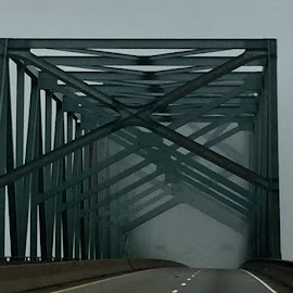 Foggy Mississippi by Jana Angelucci - Buildings & Architecture Bridges & Suspended Structures ( memphis, foggy, fog, bridge, gray )
