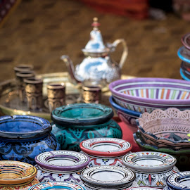 Moroccan Pots by Jamie Ledwith - Artistic Objects Still Life ( teapot, 50mm, pots, morocco, bowls )