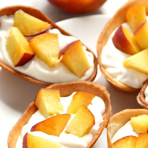 Peaches and Cream Dessert Taco Boats