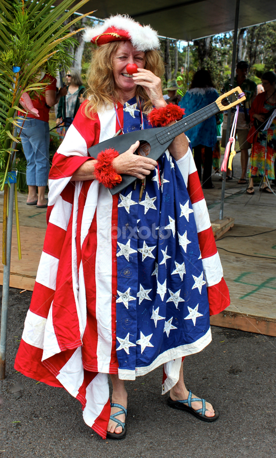 Hawaiian July 4th by Venetia Featherstone-Witty - Public Holidays July 4th ( , women, lady, red )