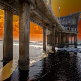 Under Moyo R by Brian McDonald - Buildings & Architecture Bridges & Suspended Structures ( pier, ocean, sunrise )