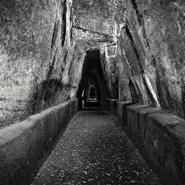 Antro della Sibilla by Diego Menna - Landscapes Caves & Formations ( cuma, sibilla, black and white, caves, antro della sibilla )