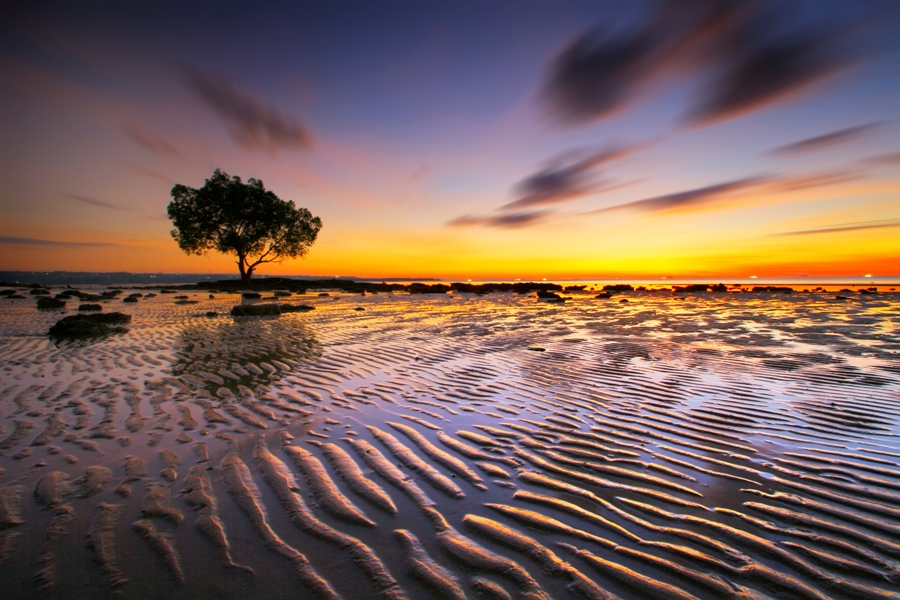 While Low Tide at Nunsui by Aris Winahyu BR - Landscapes Waterscapes ( waterscape, low tide, long exposure )