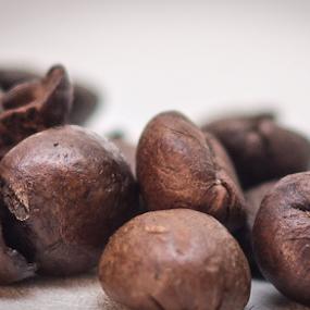 Coffee beans by Marius Radu - Food & Drink Ingredients ( coffee beans, macro, light, macro photography, brown )