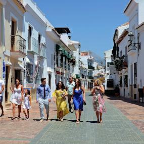 Nerja, Spain by Francis Xavier Camilleri - City,  Street & Park  Street Scenes