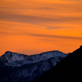 Mountain Orange by Seamus Crowley - Landscapes Sunsets & Sunrises ( clouds, orange, mountain, afternoon, colorado, dusk, alpine, pass, aspen, epic, sky, shadow, sunset, ajax, night, rockies )