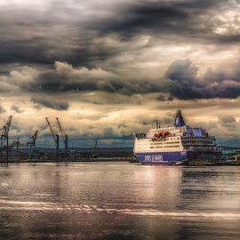 A Storm Is Coming by Adam Lang - Transportation Boats ( sky, cranes, ship, south shields, storm )