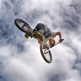 High In The Air by Marco Bertamé - Sports & Fitness Other Sports ( clouds, flying, cloudy, stunt, bicycle, jump )