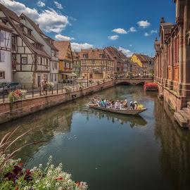 La Petite Venise by Ole Steffensen - City,  Street & Park  Historic Districts ( rue des tanniers, half-timbered houses, la petite venise, france, alsace, boat, colmar )