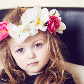 Little Miss by Carla Michelle - Babies & Children Children Candids ( child, little girl, blonde, girl, female, blue eyes, flowers, curly hair )
