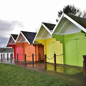 Beach huts after the rains came  by Eloise Rawling - Buildings & Architecture Other Exteriors ( beach huts, colours,  )