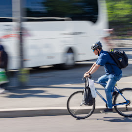 Panning by Ansari Joshi - Sports & Fitness Cycling ( high shutter speed, travel blogger, exercise, cycling, freezing motion, speed, transportation, panning, travel photography, oslo, street, learning pannig, sense of motion,  )