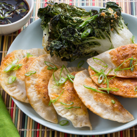 Shiitake Mushroom & Cabbage Dumplings with Garlic Roasted Tatsoi