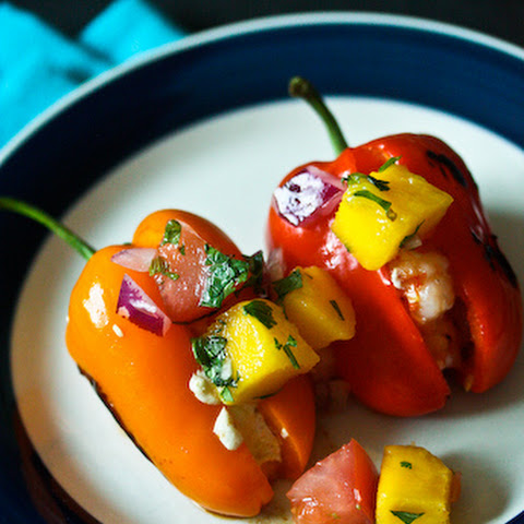 Toritos or Little Peppers Stuffed with Garlic, Shrimp and Oaxaca Cheese
