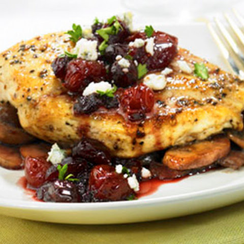 Pan Seared Chicken Breasts with Cran-Cherry Sauce and Bleu Cheese Crumbles