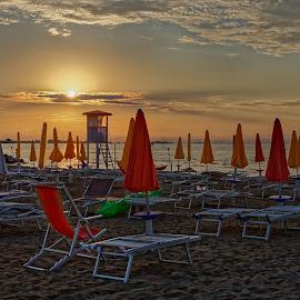 Sunrise on the beach by Michaela Firešová - City,  Street & Park  Vistas ( beach, sunrise )
