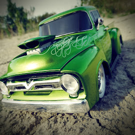 1956 Ford-F100 by Lydell Vik - Artistic Objects Toys ( 1956, green, f100, ford, hot rod )