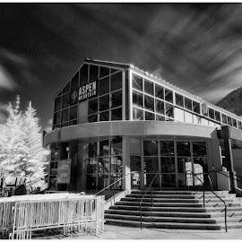 Silver Queen Gondola by George Kremer - City,  Street & Park  Street Scenes ( ski, skiing, mountains, gondola, black and white, infrared, colorado, dark skies, long exposure, aspen )