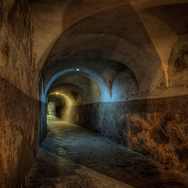 Old passageway by Klaus Müller - Buildings & Architecture Decaying & Abandoned ( lights, passage, night, abandoned )