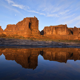 Arches National Park #2 by Phyllis Plotkin - Landscapes Caves & Formations ( reflection, arches national park, rock formations, mooon, sunrise )