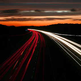 Trails to Wales by Martin Burnett - Transportation Automobiles ( lights, sunset, cars, motorway, trails )