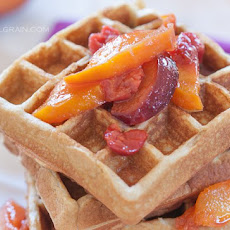 Macadamia Waffles with Fruit Syrup