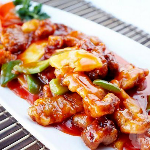 The meat in Chinese sweet and sour sauce