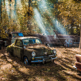 Better Days by John Edwin May - Transportation Automobiles ( grunge, cars, light, rays, junk,  )
