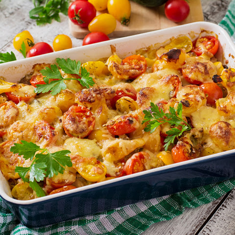 Baked Potatoes with Champignons and Tomatoes