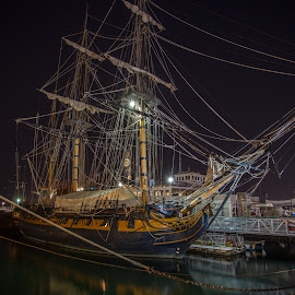 Old Ship in San Diego downtown by Vamsi Sata - City,  Street & Park  Night ( san diego, night, ship, downtown, long exposure )