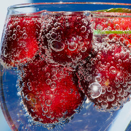 BUBBLY CHERRIES by Jim Downey - Food & Drink Fruits & Vegetables ( cherry, blue, glass, strawberry, bubbly )