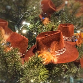 Cowboy tree by Patti Pappas - Public Holidays Christmas ( december, michigan, cowboy, cowboy hat, winter, ornament, christmas, frankenmuth )
