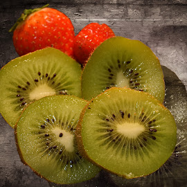 Kiwi and Strawberries by Fiona Etkin - Food & Drink Fruits & Vegetables ( fruit, kiwi, artisitic, strawberries, creativity )