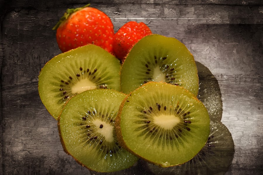 Kiwi and Strawberries by Fiona Etkin - Food & Drink Fruits & Vegetables ( fruit, kiwi, artisitic, strawberries, creativity,  )