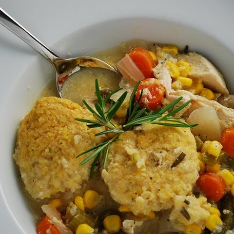 Crock Pot Chicken Stew with Cornmeal Dumplings